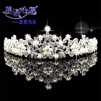 Bride accessories pearl lotus flower marriage hair accessory wedding jewelry crown free shipping 085
