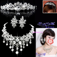 Elegant bride accessories tassel crystal necklace wedding jewelry set crown necklace earrings free shipping 053
