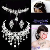 Elegant bridal accessories tassel crystal necklace wedding jewelry sets women crown necklace earrings 087
