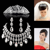 Fashion Peacock Big Tassel Drop Earrings Necklace Full Rhinestones Crown Bridal Jewelry Sets 080