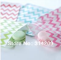 "Promotion! 200pcs 4 Colors Chevron Treat Craft Paper Popcorn Bags( 5 "" x 7"") , Food Safe Party Favor Paper, Best Party Gift Bag"