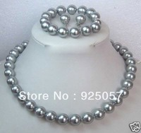 10MM Grey Shell Pearl Necklace Bracelet/ Earring Set  Fashion jewelry