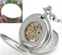 3pcs/lot Silver Plain Double Open Hunter case Mechanical Pocket Watch fob watch