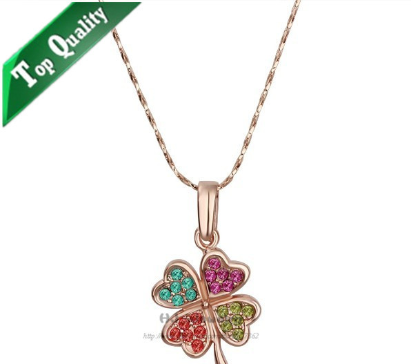 N115 Colorful Four Leaf Clover heart necklace accessories fashion pendants charms for women jewelry with cz crystals free ship(China (Mainland))