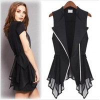 Fashion spring and summer plus size cape slim sleeveless chiffon vest vest medium-long waistcoat