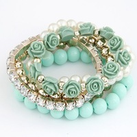 (Min order$10) Free shipping!European and American fashion summer: mix beads flowers temperament Stretch Bracelet!1521