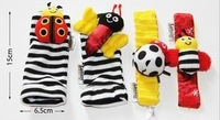 Free shipment New arrival baby rattle baby toys Lamaze Garden Bug Wrist Rattle and Foot Socks 16 pcs/lot