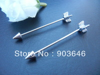 Lot 50pcs Free Shippment  16g Long  Industrial Barbells Ear Barbells  Body Jewelry Ear Piercing Arrow 35mm