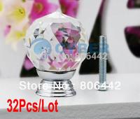 32Pcs/Lot 30mm Glass Crystal Round Cabinet Knob Drawer Pull Handle Kitchen Door Wardrobe Hardware TK0736