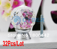 32Pcs/Lot 30mm Glass Crystal Round Cabinet Knob Drawer Pull Handle Kitchen Door Wardrobe Hardware TK0736