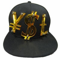 Snapback Mens' Cap Hat Black&Golden 3D Letters with YSt Bolted 1pc