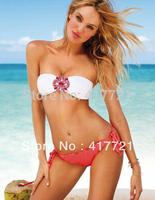 Free Shipping 2014 Cheap Hot Sale Women Strapless Pink Blue White Mini Summer Beachwear Bikinis Brazilian Women Swimwear