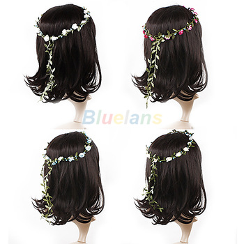 2pcs Bride Headband Flower 8 Colors Boho Lady Girl Floral Flower Festival Wedding Garland Forehead Hair Bridemaid Head Band