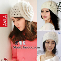Autumn and winter women's mohair knitted flower hat handmade knitted mesh toe cap hat covering