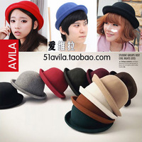 Autumn and winter cute dome fedoras cashmere wool roll up hem woolen round cap male women's vintage felty hat