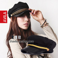 Vivi navy cap autumn and winter women's gold rope leather hat brim cadet cap
