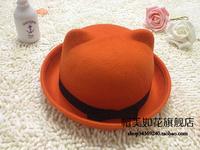 Cat ears pure woolen roll up hem small fresh women's dome cap small fedoras parent-child hat