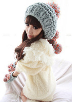 Color block oge ball knitted hat knitted women's autumn and winter thermal winter