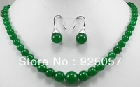 Pretty real nature green jade necklace earring set  Fashion jewelry