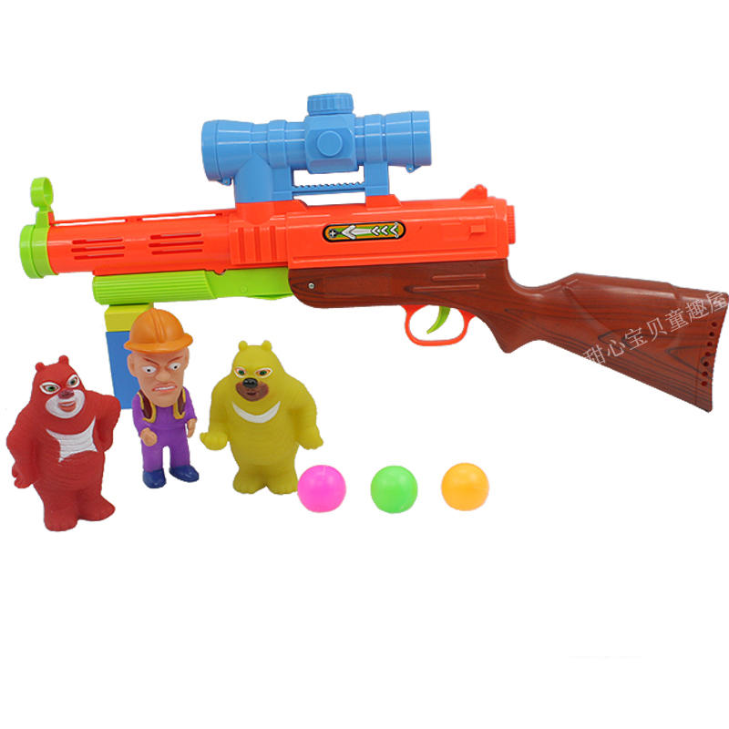 Bare-headed toy gun set bear bare-headed table tennis ball gun(China (Mainland))