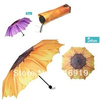 Sunflower 3 Folding Umbrella Personalized Umbrella two Colors Princess UV Umbrella Sweethearts Umbrella Free Shipping