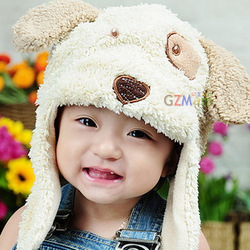 Trend 2012 plush beanie heart little bear ear protector cap baby products(China (Mainland))