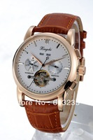 HOT 2014 Christmas Gifts for boyfriend new fashion men vintage retro watch rose gold mens leather strap casual watches 825YM