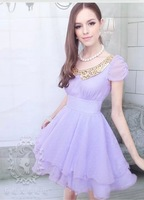 New arrival 2013  summer ladies  white chiffon Gold Collar  puff sleeve girl beautiful dress purple