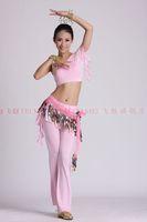belly dance dancing bra top+culottes pants+leaves hip scarf+bells bracelet costume 5pcs/set stage wear clothing