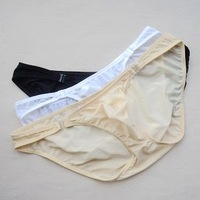 Mens low-waist male panties viscose plus size translucent panties briefs ms004