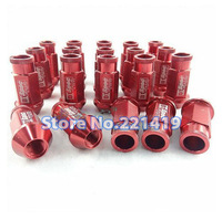 Red M12x1.5mm 53mm 20pcs Anti-theft Lug Nuts Wheel Rim Lock Nut Kit Set