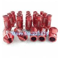 Red M12x1.5mm 53mm 20pcs Anti-theft Lug Nuts Wheel Rim Lock Nut Kit Set
