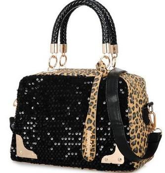 2014 Hot sale! Free Shipping Leopard sequins handbag Bone grain tide bucket woman handbag fashion restoring shoulder bag