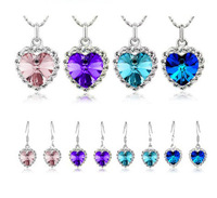 Ocean Star necklace earrings set fashion Jewelry Sets Sea blue sapphire blue purple pink free shipping LM-S015