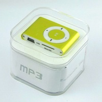 cheap clip mp3 player with retail package + CABLE+ Earphone+Retail box FREE SHIPPING 10pcs/lot