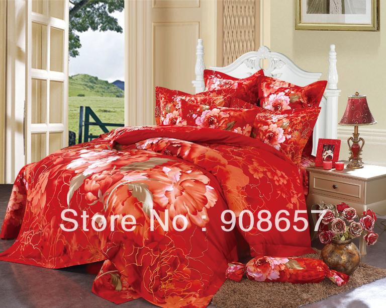 Cotton bed linen orange red flower printed girl s bedding - Red and orange comforter sets ...