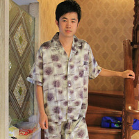 Summer silk short sleeve male length pants sleep set male freckling of sleepwear casual lounge 2013