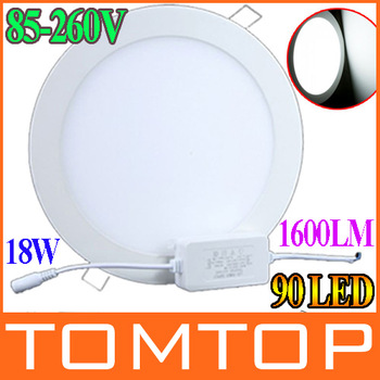 18W AC 86-265V 90pcs 2835 SMD led Panel Light 1600LM Round LED Ceiling Wall Light Recessed Down light Pure White
