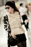 free shipping New arrival 2013 rex rabbit hair genuine leather patchwork popper all-match vest fur vest Women belt