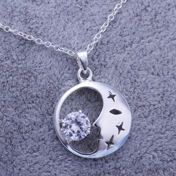 Fashion lk9252013 Silver Zircon Round Pendant Necklace Bridal Jewelry Christmas Gift Freeshipping