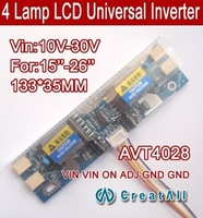 "Free shipping 5PCS AVT4028 PC LCD MONITOR CCFL 4 LAMP universal lcd inverter board,4 Lamp 10V-30V For 15-26"" screen"