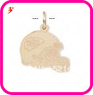 free shipping 50pcs a lot wholesale sport gold plated Kansas City Chiefs football helmet charms