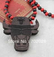 wholeslae Min order is $10(can mix different goods) 1pc Bulls Pendant Beaded Chain Wood Beads Rosary Necklace  black color