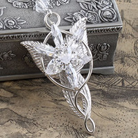 925 Sterling Silver LOTR Arwen Evenstar Necklace Pendant With A Nice Tin Jewelry Gift Box