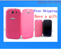 free shipping and gift Flip leather Back cover cases  housing case screen protector for Samsung Galaxy S3 SIII i9300