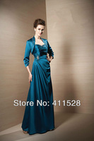MBD1309 elegant satin long beaded mother of the groom dress with jacket