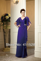 MBD1304 Long chiffon purple V-neck mother of the bride dress