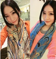 Fashion vintage style flowers silk scarf
