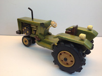 Vintage handmade wooden tractor model crafts gift home decoration