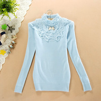 2013 New style women fashion lace bow base pullovers sweater Knitwear free shipping